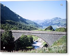 Alpine Bridge With Lake Acrylic Print