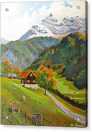 Alpine Farm Near Buerglen In Canton Uri Acrylic Print