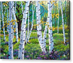 Alpine Flowers And Birches  Acrylic Print by Richard T Pranke