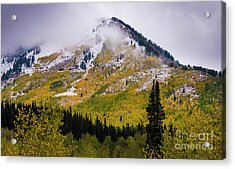 Acrylic Print featuring the photograph Alpine Loop Autumn Storm - Wasatch Mountains  by Gary Whitton