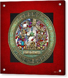 Altar 5 From Tikal - Mayan Nobles Performing A Ritual - On Black And Red Leather  Acrylic Print by Serge Averbukh