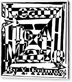 Alternate Book Cover Maze Acrylic Print by Yonatan Frimer Maze Artist
