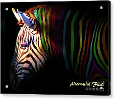 Acrylic Print featuring the photograph Alternative Fact Number 1 The Color Striped Zebra 7d8908 by Wingsdomain Art and Photography