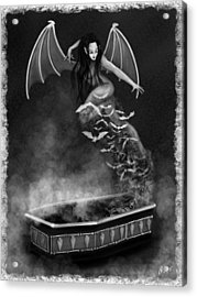 Always Awake - Black And White Fantasy Art Acrylic Print