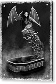 Always Awake - Black And White Fantasy Art Acrylic Print by Raphael Lopez