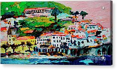 Amalfi Coast And Pink Sky  Acrylic Print