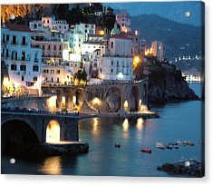 Acrylic Print featuring the photograph Amalfi Coast At Night by Donna Corless