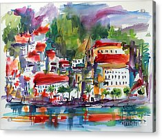 Acrylic Print featuring the painting Amalfi Coast Italy Expressive Watercolor by Ginette Callaway