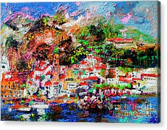 Acrylic Print featuring the painting Amalfi Impression Travel Italy by Ginette Callaway