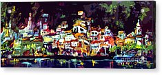 Amalfi Italy At Night Panoramic Acrylic Print