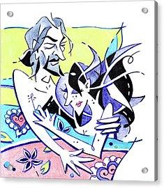 Amantes En La Cama - Liebhaber Im Bett Acrylic Print by Arte Venezia