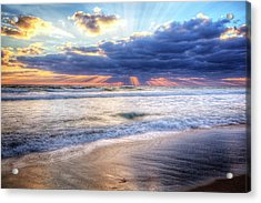 Amazing Sunrays At Dawn Acrylic Print by Debra and Dave Vanderlaan