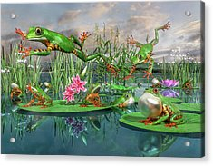 Amazon Frogs Welcoming Spring Acrylic Print