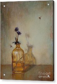 Amber Bottle And Bees  Acrylic Print by Lori  McNee
