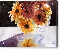 Amber Mums Acrylic Print by Kathy Nesseth