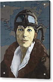 Amelia Earhart Acrylic Print by Suzanne Gee