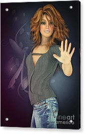 Amelie In Jeans Acrylic Print