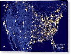 America By Night Acrylic Print by Delphimages Photo Creations