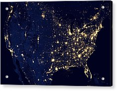 America United States At Night Acrylic Print by New York Prints