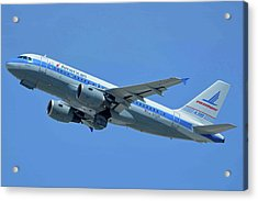 American Airbus A319-0112 N744p Piedmont Pacemaker Los Angeles International Airport May 3 20 Acrylic Print by Brian Lockett