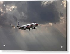 American Aircraft Landing After The Rain. Miami. Fl. Usa Acrylic Print