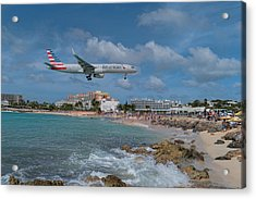 American Airlines Landing At St. Maarten Airport Acrylic Print by David Gleeson