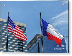 American And Texas Flag On Top Of The Pole Acrylic Print