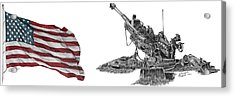 Acrylic Print featuring the drawing American Artillery by Betsy Hackett