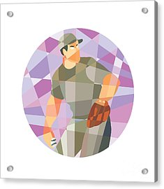 American Baseball Pitcher Throwing Ball Low Polygon Acrylic Print