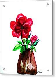 American Beauty Rose Acrylic Print by Marsha Heiken