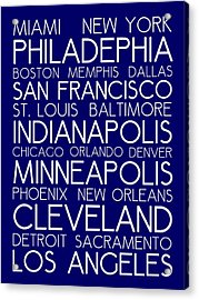 American Cities In Bus Roll Destination Map Style Poster - Blue Acrylic Print