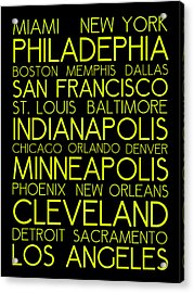 American Cities In Bus Roll Destination Map Style Poster  Acrylic Print
