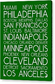 American Cities In Bus Roll Destination Map Style Poster - Green  Acrylic Print