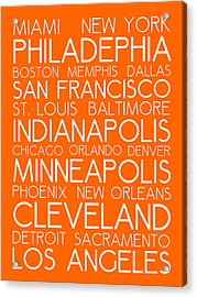 American Cities In Bus Roll Destination Map Style Poster - Orange Acrylic Print