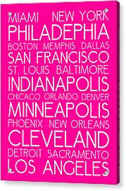 American Cities In Bus Roll Destination Map Style Poster - Pink Acrylic Print