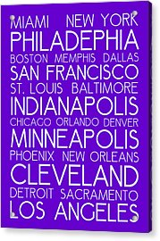 American Cities In Bus Roll Destination Map Style Poster - Purple Acrylic Print