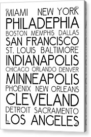 American Cities In Bus Roll Destination Map Style Poster - White Acrylic Print