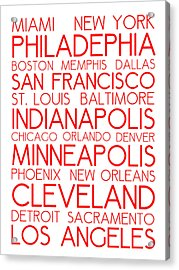 American Cities In Bus Roll Destination Map Style Poster - White-red Acrylic Print