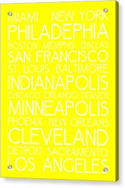 American Cities In Bus Roll Destination Map Style Poster - Yellow Acrylic Print