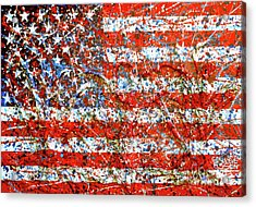 American Flag Abstract 2 With Trees  Acrylic Print by Genevieve Esson