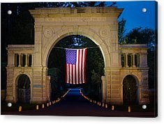 American Flag At Cemetery Gates - Mystic Ct Acrylic Print