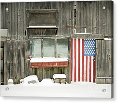 Acrylic Print featuring the photograph American Flag Barn Lebanon New Hampshire by Edward Fielding