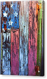 American Flag Gate Acrylic Print by Garry Gay