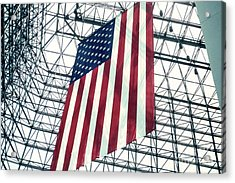 American Flag In Kennedy Library Atrium - 1982 Acrylic Print by Thomas Marchessault