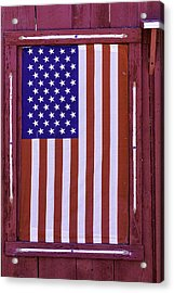 American Flag In Red Window Acrylic Print by Garry Gay