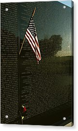 American Flag Left At The Vietnam Acrylic Print by Medford Taylor