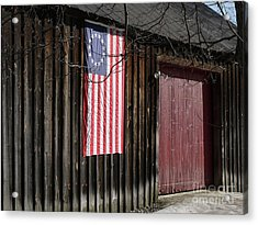 Acrylic Print featuring the photograph American Flag On A Barn by Edward Fielding