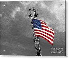 American Flag On A Fire Truck Ladder Acrylic Print by Mark Hendrickson