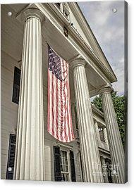American Flag On Period House Acrylic Print by Edward Fielding