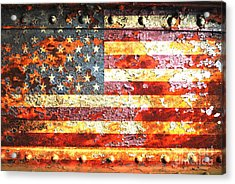 American Flag On Rusted Riveted Metal Door Acrylic Print